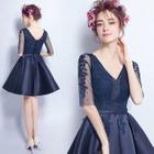 Elbow-Sleeve Rhinestone Mini Prom Dress 1596