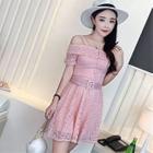 Short-Sleeve Off-Shoulder Lace Dress 1596