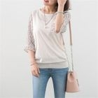 Floral Chiffon-Sleeve Knit Top 1596