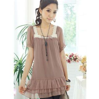Buy Tokyo Fashion Lace-Trim Chiffon Ruffle Dress 1023065599