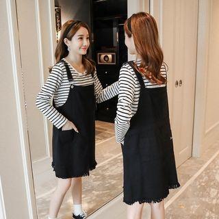 Maternity Fray Hem Pinafore Dress / Maternity Set: Long Sleeve Striped T-Shirt + Fray Hem Pinafore Dress 1061577594