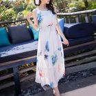 Floral Print Sleeveless Maxi Chiffon Dress 1596