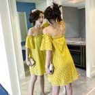 Off-shoulder Dotted Short-Sleeve Dress 1596