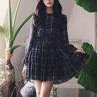 Plaid Long-Sleeve Chiffon Dress 1596