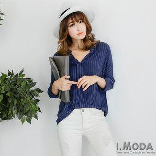 Long-Sleeve Striped V-Neck Blouse 1052805226