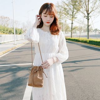 Image of Long-Sleeve Midi Lace Dress / Elbow-Sleeve Lace Dress
