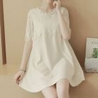 Maternity Lace Panel Short-Sleeve A-Line Dress 1596