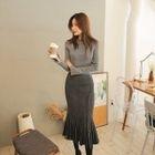 Set: Slit-Sleeve Knit Top + Ribbed Long Skirt 1596