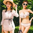 Set: Printed Bikini + Off-Shoulder Playsuit 1596