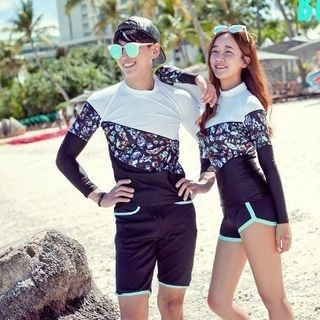 Couple Matching Swim Set: Long-Sleeve Top + Contrast-Trim Shorts 1063901952