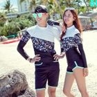 Couple Matching Swim Set: Long-Sleeve Top + Contrast-Trim Shorts 1596