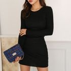 Round-Neck Ribbed Knit Dress 1596