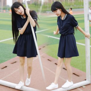 Image of Buttoned Short-Sleeve A-Line Dress