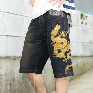 Picture of Buden Akindo [Men] Embroidered Denim Shorts - Flying Dragon 1020448448 (Buden Akindo, Mens Denim, Japan)