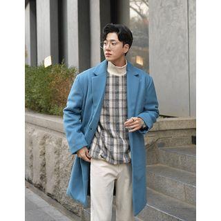 Single-breasted Wool Blend Coat