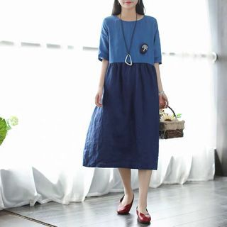 Image of Elbow-Sleeve Two-Tone Midi A-Line Dress As Shown In Figure - One Size