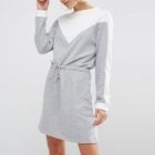 Two-Tone Tie-Waist Pullover Dress 1596