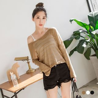 Boat Neck Sheer Knit Sweater 1057420439