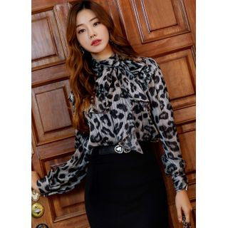 Styleonme Tie-Neck Frill-Trim Leopard Blouse