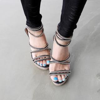 Buy HARU Chain-Strap Wedge Sandals 1023052193