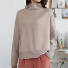 Mock-Neck Drop-Shoulder Knit Top 1596
