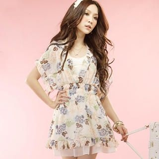 Picture of Tokyo Fashion Set: Ruffle Floral Smocked Dress + Halter Top 1022972894 (Tokyo Fashion Dresses, Womens Dresses, Taiwan Dresses)