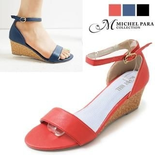 Picture of MICHEL PARA COLLECTION Ankle Strap Wedge Sandals 1022976350 (Sandals, MICHEL PARA COLLECTION Shoes, Korea Shoes, Womens Shoes, Womens Sandals)