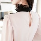 Frill-Neck Lace-Trim Top 1596