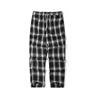 Image of Couple Matching Drawstring Plaid Wide-Leg Pants