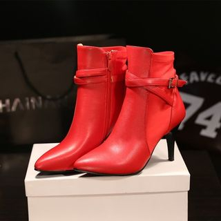 Genuine Leather Buckled Ankle Boots