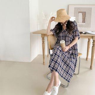 Babydoll | Plaid | Dress | Navy | Blue | Size | One