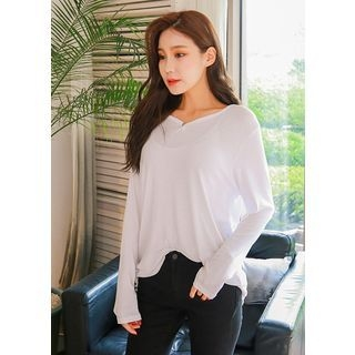 V-Neck Long-Sleeve Ribbed T-Shirt 1061810205