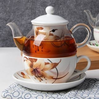 Floral Print Teapot with Cup 1061704006