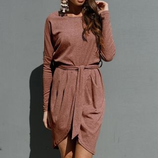 Long-Sleeve Tie-Waist Dress 1062836268