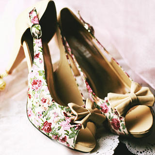 "Buy Kvoll Peep-Toe ""Bow"" Floral Pumps 1022979543"