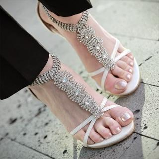 Picture of AKA Rhinestone T-Strap Sandals 1022792078 (Sandals, AKA Shoes, Korea Shoes, Womens Shoes, Womens Sandals)
