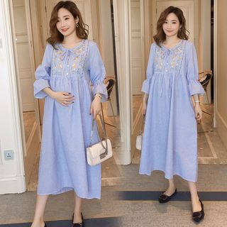 Image of Maternity Bell-Sleeve Midi Embroidered Dress