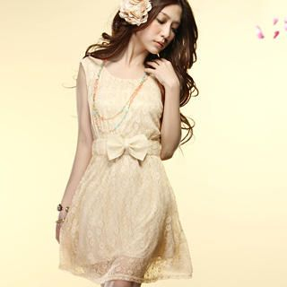 "Buy Tokyo Fashion Sleeveless ""Bow"" Lace Dress 1022589837"