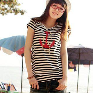 Buy Ando Store Anchor Appliqu  Striped Top 1022157391