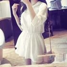 3/4-Sleeve Buttoned A-Line Chiffon Dress 1596