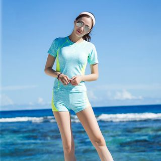 Set: Short-Sleeve Swim Top + Swim Shorts 1057252091