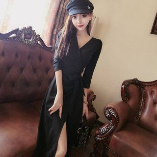 Image of 3/4-Sleeve V-Neck Tie-Front Midi A-Line Dress