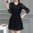 Split-Neck Long-Sleeve Lace Dress 1596