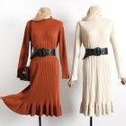 Frill Hem Long Sleeve Knit Dress 1596