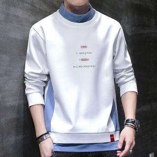 Mock Two-piece Lettering Mock-neck Sweatshirt