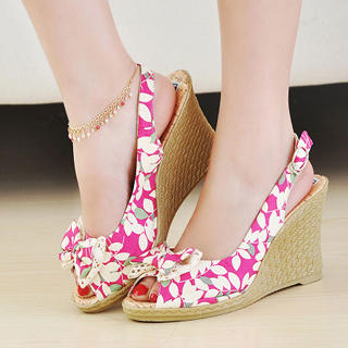 Picture of KAWO Bow Floral Print Wedges 1022900573 (Other Shoes, KAWO Shoes, China Shoes, Womens Shoes, Other Womens Shoes)