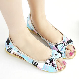 Picture of KAWO Bow-Front Check Flats 1022902728 (Flat Shoes, KAWO Shoes, China Shoes, Womens Shoes, Womens Flat Shoes)