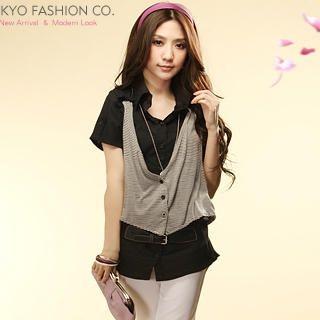 Buy Tokyo Fashion Inset Vest Short-Sleeve Belted Shirt 1022898075