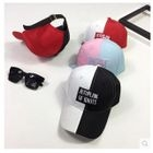 Letter Embroidered Color Panel Baseball Cap 1596