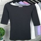 Boat Neck Elbow-Sleeve T-Shirt 1596